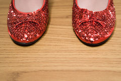 Red sparkly shoes stock photography