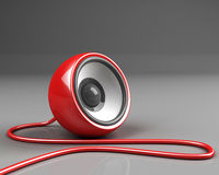 Red speaker with cable Stock Images