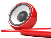 Red speaker with cable Royalty Free Stock Photos