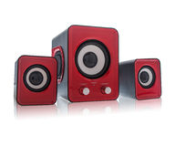 Red speakers. For using on computer Royalty Free Stock Photography