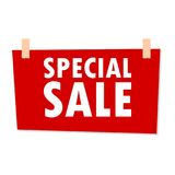 Red Special Sale Sign - illustration on white background Royalty Free Stock Photography