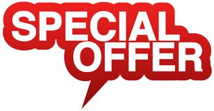 Red speech balloon with words SPECIAL OFFER Royalty Free Stock Images