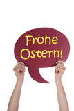 Red Speech Balloon With German Frohe Ostern Means Happy Easter Royalty Free Stock Images