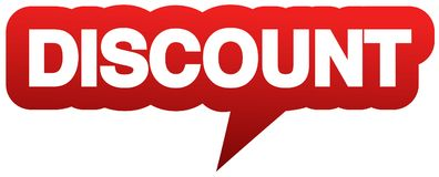 Red speech balloon with word DISCOUNT Stock Photos