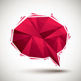 Red speech bubble geometric icon made in 3d modern style, best f Stock Photography