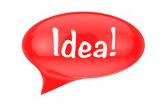 Red Speech Bubble with Idea Sign. 3d Rendering. Red Speech Bubble with Idea Sign on a white background. 3d Rendering Stock Photography