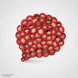 Red speech bubble made of smiling faces. Royalty Free Stock Images