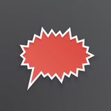 Red speech bubble for scream at prickly shape. Vector illustration. Red comic speech bubble for scream at prickly shape with white contour. Empty shape in flat Stock Images