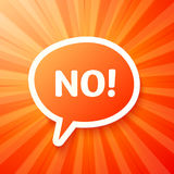 Red speech bubble with sign NO!. Red vector speech bubble with sign NO Royalty Free Stock Images