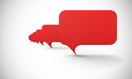 Red speech bubbles in a row. Red 3D speech bubbles in a row on white background stock illustration