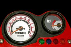Red speedometer Royalty Free Stock Image