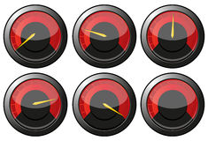 Red speedometers. Set of red speedometers for car or power or termometers,  illustration additional Stock Image