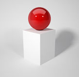 Red sphere. Sitting on white box - 3d render Royalty Free Stock Photos