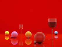 Red sphere. Christmas fur-tree toys on a red table Royalty Free Stock Images