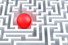 Red sphere in an abstract maze. Stock Images