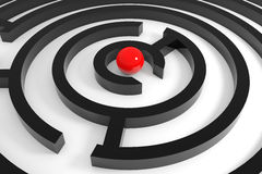 Red sphere in a center of maze. Stock Images