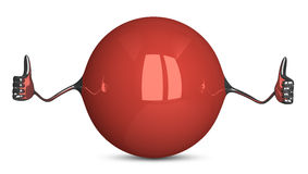 Red sphere character giving thumbs up Royalty Free Stock Image