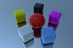 Red sphere with cubes Stock Image