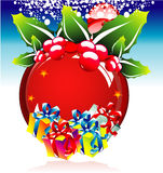 Red Sphere with gift boxes Stock Image