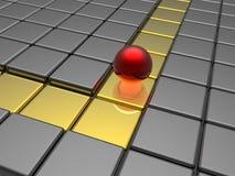 Red sphere in golden way Stock Photo