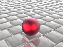 Red sphere and grey cubes Royalty Free Stock Photo