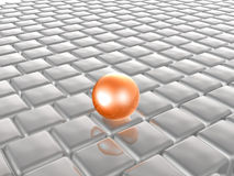 Red sphere on grey cubes Royalty Free Stock Photo