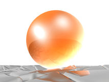 Red sphere on grey cubes Stock Image