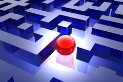 Red sphere in labyrinth Stock Photo