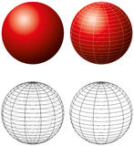 Red Sphere With Meridians Stock Photos