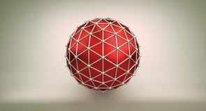 Red sphere and polygonal wireframe 3D illustration. Red sphere shape and polygonal metalic wireframe. Abstract 3D illustration rendered with DOF Royalty Free Stock Photo