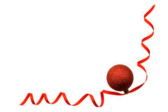 Red sphere on  red ribbon Stock Photos