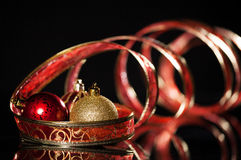 Red Sphere with ribbon Stock Photography