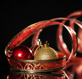 Red sphere with ribbon Royalty Free Stock Images