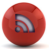 Red sphere with RSS sign Royalty Free Stock Photos