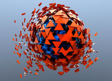 Red Sphere Shattered Abstract 3d isolated Stock Photos
