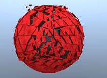 Red Sphere Shattered Abstract 3d isolated Stock Photography