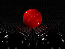 Red sphere standing out Stock Photo