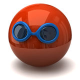 Red sphere with sunglasses Stock Images