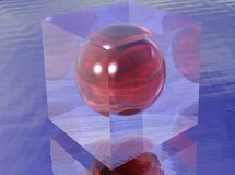 Red sphere in a transparent cube Stock Photos