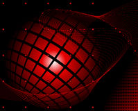 Red sphere wrapped in a blend on dark red abstract background Royalty Free Stock Image