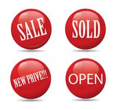Red spheres printed with sale announcements Stock Photos