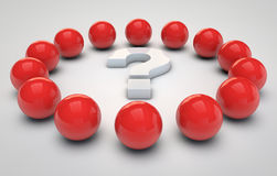 Red spheres and a question mark Royalty Free Stock Images
