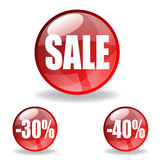Red spheres with sale announcements Royalty Free Stock Photography