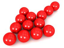 Red Spherical Balls in arrow formation Stock Image