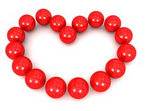 Red Spherical Balls in heart formation Stock Photography