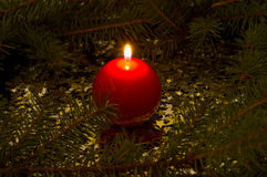 Red, spherical candle Royalty Free Stock Photos