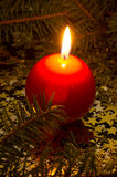 Red, spherical candle Royalty Free Stock Images