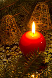 Red, spherical candle Stock Image