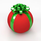 Red spherical gift box with green ribbon Stock Images