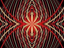 Red spider. Abstract symmetric pattern of red and yellow stripes on a black background. Stock Photography